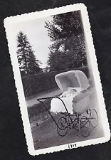 Vintage Antique Photograph Baby Laying in Old Time Wicker Carriage