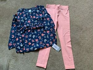 NWT Carters Kids Little Girls 2 pc Outfit - Floral Top & Leggings - Size 4/5