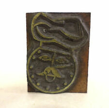 Vintage Letterpress Metal & Wood Printing Block- Chef with Hat Decorative Image