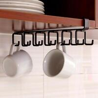 Under Shelf Cup Mug Holder Hangers Storage Racks Kitchen Cupboard Black Metal UK