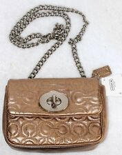 Coach Gold Signature Leather Shoulder Bag w/Silver Chain Strap F42727 NEW