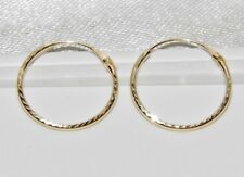 9ct Gold 12mm Diamond Cut Hinged Sleeper Hoop Earrings Men S Or Las Solid