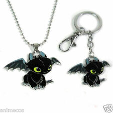How To Train Your Dragon Toothless Key Ring Key Chain and necklace Pendant 2PCS
