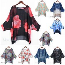 Women's Boho Oversized Batwing Tunic Chiffon Tops Irregular Shirts Cover Blouse