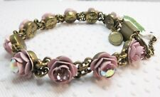 New $219 Michal Negrin  Antique Pink & AB Clear Crystal ROSES bracelet