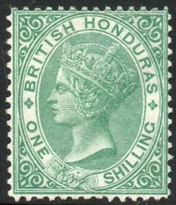 BRITISH HONDURAS: 1877-79 Sg 16 1/- Green Perf 14 Unused No Gum Example (39640)