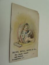 Bush Bull Roth & Co Dry Goods Carpets & Notions Child Sitting in Wash-Tub Broom