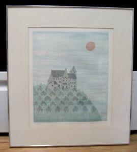 Keiko Minami Aquatint Etching, Chateau dans la Foret, Signed,  #64/150