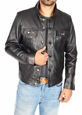 Mens REAL Soft Leather Jacket Western Fitted Trucker Denim Style Leather Jacket