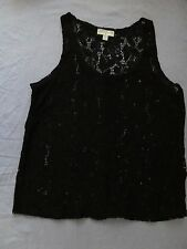 Ladies Cotton On Black Lace Look Top Size Small