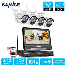 "SANNCE Wireless 10"" LCD Monitor 720P NVR 4x WIFI IR Home Security Camera System"