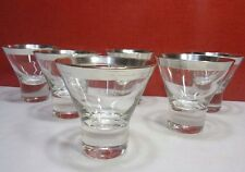 Set Mid Century Cocktail Glasses Silver Rim Set Mod Thorpe Style Vintage (6)