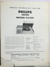 Philips Record Player 13GF810 - Service Information