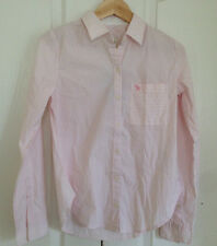 Abercrombie & Fitch Women Shirt XS Classic Pink White Striped Long Sleeve Cotton