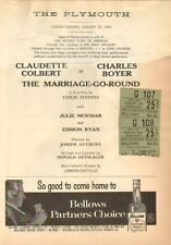 THE MARRIAGE-GO-ROUND at Plymouth Theatre (1959) Playbill w/ ticket stubs