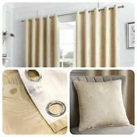 Curtina FEATHER Natural Metallic Jacquard Woven Eyelet Curtains & Cushions