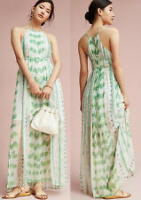 ANTHROPOLOGIE NWT Vera Silk Maxi Dress by Moulinette Soeurs Green Sz MP $198