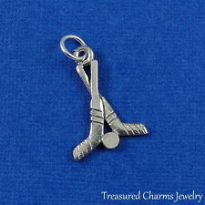 Silver HOCKEY STICKS AND PUCK CHARM PENDANT