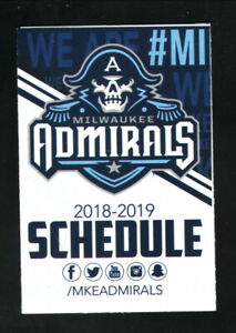 Milwaukee Admirals--2018-19 Pocket Schedule--U.S. Bank