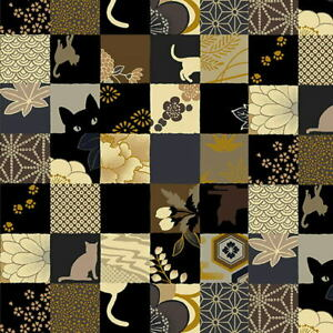 "Quilt Gate Hyakka Ryoran Neko Cat 1.25"" Squares Fabric HR3110-13E w/Gold Met BTY"