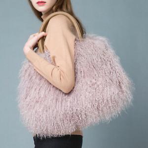 Women's Fur Bag Fashion Real Long Curl Fur Mongolian Sheepskin Fur Bag Handbag