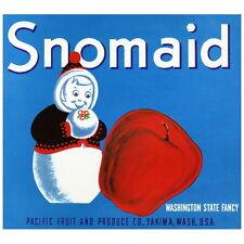 Snomaid Yakima Washington Apple Crate Label Deco Magnet, Fridge Refrigerator