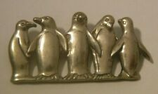 H&H Dematteo GLV Sterling Silver Penquins Penguin Brooch PIN Heavy NICE!!