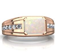 14K Solid Rose Gold Natural Ethiopian Fire Opal & Diamond Gem Stone Men's Ring