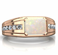 14K Solid Rose Gold Natural Ethiopian Fire Opal & Diamond Gem Stone Men's Ring