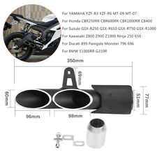 Two outlet Exhaust Tail Pipe Muffler for YZF-R6 GSX-R750 Ninja 650 Z800 CBR600RR