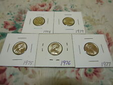 YES 5 UNCIRCULATED 5cent coins 1979,1978,1977,1976,1975. from mint rolls