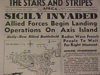 VINTAGE NEWSPAPER HEADLINE~WORLD WAR GERMAN ARMY SICILY ITALY INVASION WWII 1943