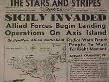 VINTAGE NEWSPAPER HEADLINE~WORLD WAR ARMY INVASION NAZI SICILY ITALY BATTLE WWII