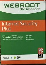 WEBROOT Internet Security Plus  2019 for  3 DEVICES / 1 YEAR (code only)