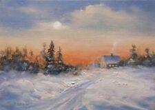 February Moon 5x7 original oil painting by Celene Farris, Maine. snow, stars