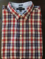 Tommy Hilfiger men's size XXL white & blue plaid short sleeve button up shirt