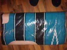 New Western Fleece Bottom Navajo Print Aztec Saddle Pad 30 x 32 Black & Blue