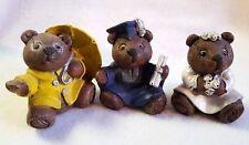 Bear Figurines Month Season Holiday April Showers May Grad June Bride Set of 3