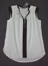 Katies: Size: 12. Modern White with Black Vertical Slim Trim, Stylish Longer Top