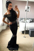 Quiz Black Bardot Dress Ball Gown Mesh Detail Long Fishtail Maxi Evening Prom
