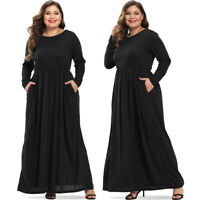 Women Plus Size Long Sleeve Maxi Casual Party Cocktail Evening Full Long Dresses