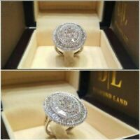 Luxury Shiny White Sapphire Wedding Ring 925 Silver Plated Engagement Jewelry