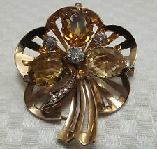 Antique 18ct Gold Cushion Cut Diamond Citrine Brooch