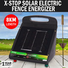 NEW  X-Stop Solar Electric Fence Energiser 8KM Farm 7.5V DC Rechargeable Powered