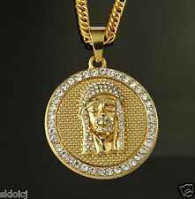 18k Gold Plated JESUS HEAD PIECE Rhinestone Pendant Chain Hip Hop Necklace N39