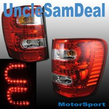 99-04 JEEP GRAND CHEROKEE EURO RED CLEAR LENS LED TAIL LIGHTS PAIR DIRECT FIT