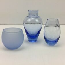 Blue Glass Floral Flower Mini Vases and Candle Votive Holder Set of 3