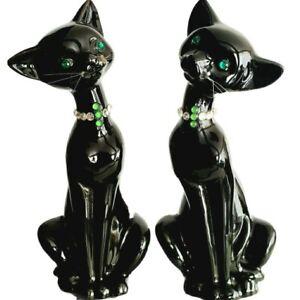 VINTAGE Atomic Age Evil BLACK CATS Green Rhinestone Eyes Figurines MCM