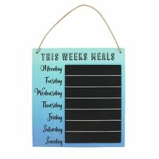 'This Weeks Meals' Rope Hanging Wooden Chalkboard Kitchen Sign Ombre Blue Aqua