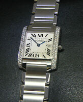Cartier Tank Francaise Steel Diamond Bezel Ladies Midsize Quartz Watch 2465